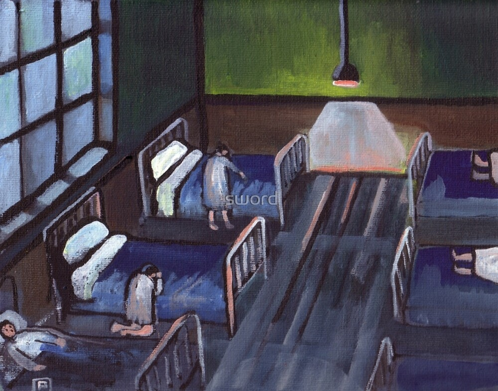 Bedtime in the childrens home (from my original acrylic painting) by sword