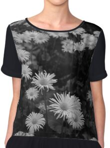 Flower Black and White Chiffon Top