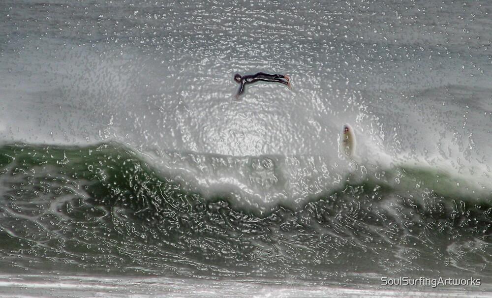 Aerial Surfer Over the Wave by SoulSurfingArtworks
