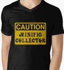 Caution Minifig Collector Sign  Men's V-Neck T-Shirt