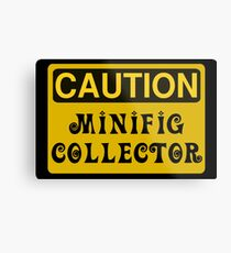 Caution Minifig Collector Sign  Metal Print