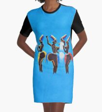 Traditional African Women Dance Graphic T-Shirt Dress