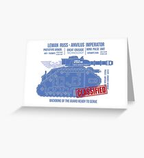 BLUEPRINT TEE - LEMAN RUSS 40K BONE Greeting Card