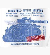 BLUEPRINT TEE - LEMAN RUSS 40K BONE Poster