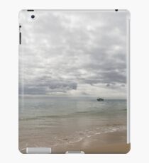 Soft Drama - Silvery Green Calm and a Fishing Boat iPad Case/Skin