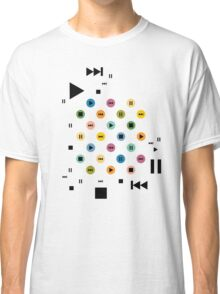 Music Player Icons (Multicolor on White) Classic T-Shirt