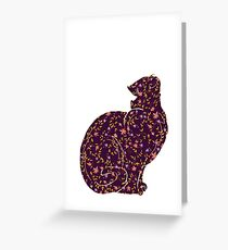 cat with flower pattern inside Greeting Card