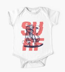 T-Rex Dinosaur Surfing - Your Wave is Waiting Kids Clothes