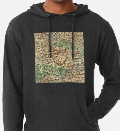 SPY cat HIDIN IN teh map Lightweight Hoodie