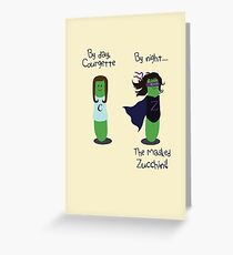 Courgette and The Masked Zucchini: double-life of a vegetable superhero Greeting Card