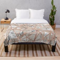 Fractured Marble Pieces Geometric Rose Gold Design Throw Blanket