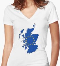 Scotland Map with EU Flag Women's Fitted V-Neck T-Shirt