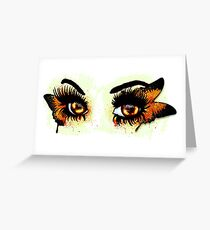 Brown eyes with butterfly Greeting Card