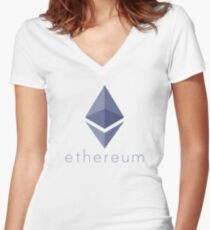 Ethereum Logo (with Text) Women's Fitted V-Neck T-Shirt