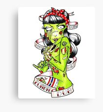 Zombie Dub - Dubs Don't Die 50s Pin Up Canvas Print