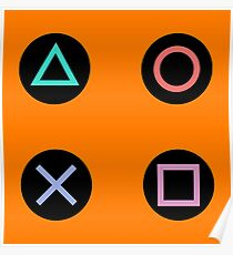 Play with Playstation Controller Buttons (orange) Poster