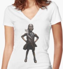 Fearless Girl Statue Women's Fitted V-Neck T-Shirt
