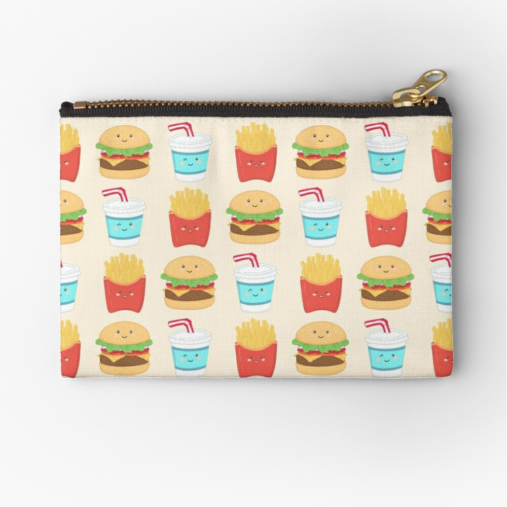 burger buddies repeating pattern Zipper Pouch