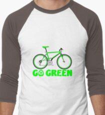 Go Green Bicycle Recycle Design Men's Baseball ¾ T-Shirt