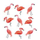 Watercolor Flamingo Pattern by cococreatess