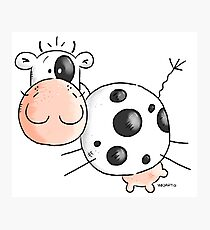 Happy Jumping Cow Photographic Print