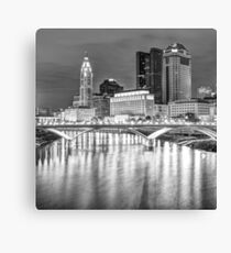 Columbus Ohio Skyline at Night in Black and White 1x1 Canvas Print