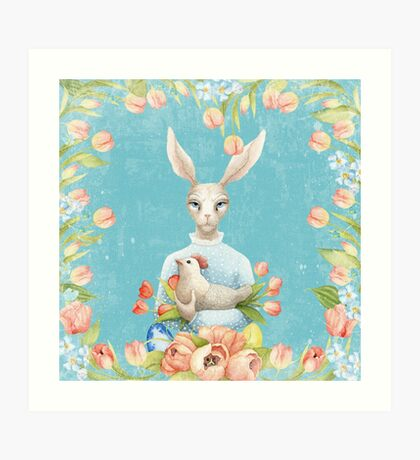 Beautiful Floral Flowers Female Animal Easter Bunny  Art Print