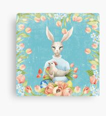 Beautiful Floral Flowers Female Animal Easter Bunny  Canvas Print