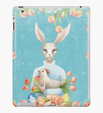 Beautiful Floral Flowers Female Animal Easter Bunny  iPad Case/Skin