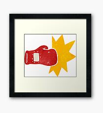 retro cartoon boxing glove Framed Print