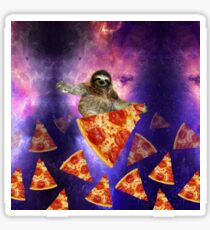 Sloth Galaxy Hungry for a Ride Space Travel on Pizza  Sticker