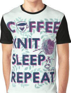 Coffee Knit Sleep Repeat - knitting knitter yarn Graphic T-Shirt