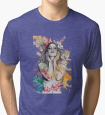 The Withering Spring - magnolia flower girl nude portrait Tri-blend T-Shirt