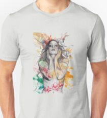 The Withering Spring - magnolia flower girl nude portrait Unisex T-Shirt
