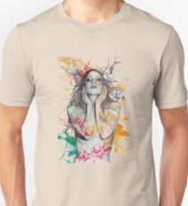 The Withering Spring (magnolia flower girl, erotic nude portrait) T-Shirt