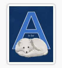 A is for Arctic Fox Sticker