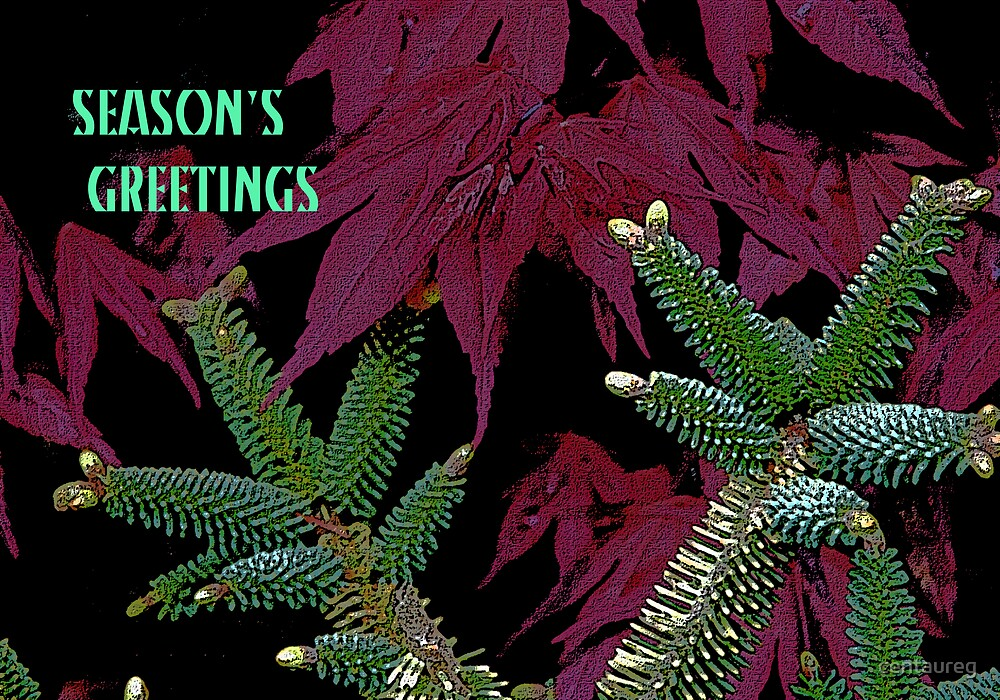 Season's Greetings: Green Stars On Red by Greg German
