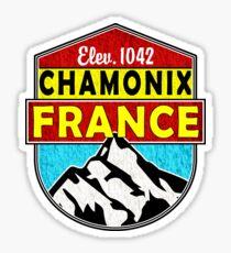 SKIING CHAMONIX MONT BLANC FRANCE Ski Mountain Mountains Skis Silhouette Snowboard Snowboarding 3 Sticker
