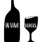 in vino veritas.  truth in wine.  Black and white.  Hand lettering by lifeidesign