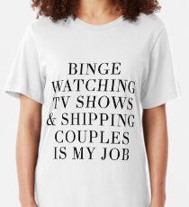 Camiseta ajustada Binge viendo programas de televisión