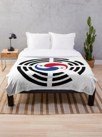 Korean Panamanian Multinational Patriot Flag Series Throw Blanket