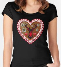 Stolzer Hirsch Lebkuchenherz Gingerbread Heart Bayern Oktoberfest Women's Fitted Scoop T-Shirt