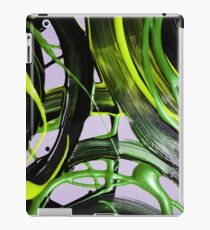 Painted background texture with green and black stripes iPad Case/Skin