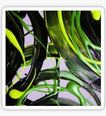 Painted background texture with green and black stripes Sticker
