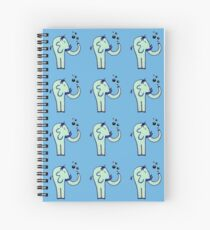 Blue Elephant Blowing Bubbles Spiral Notebook