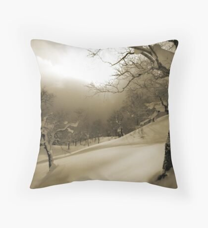 Asahi Dake Powder Fields Throw Pillow