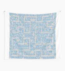 Blue Needlepoint Maze Wall Tapestry