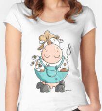 Farmer Cow Cartoon Women's Fitted Scoop T-Shirt