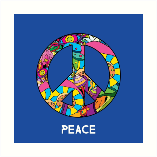 Magic Mushroom Pattern Hippie Peace Symbol Art Prints By Andrei