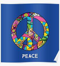 Magic mushroom pattern hippie peace symbol  Poster